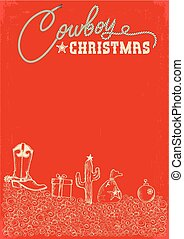 Red christmas card with western cowboy decorations and text