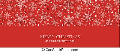 red christmas card with white seamless pattern snowflakes