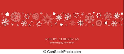 red christmas card with white snowflakes