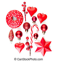 Red Christmas decor isolated on white background