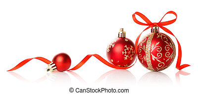Red Christmas decoration bauble with ribbon bow on white background