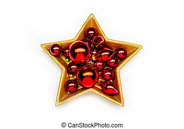 red christmas decoration in a golden star-shaped bowl on a white background