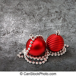 Red christmas decoration on silver