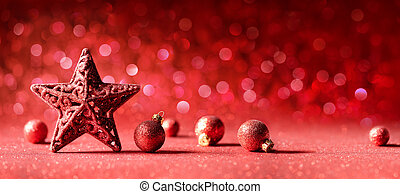 Red Christmas Decoration - Star And Balls With Bokeh Effect