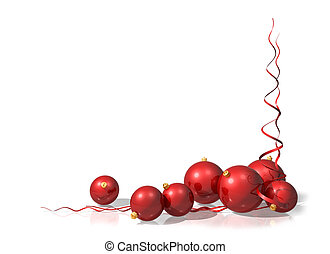 Illustration of a Christmas motif using red baubles and streamers