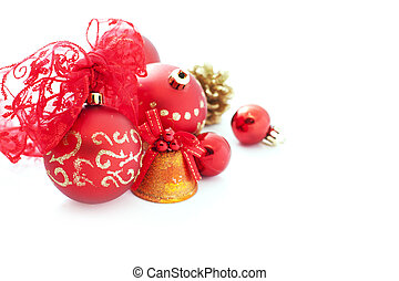 red christmas decorations over white