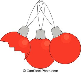 Red christmas decorations vector illustration on white background.