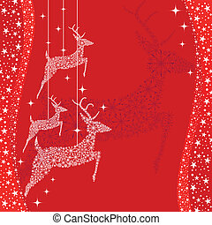 Red Christmas deer greeting card