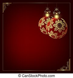 Christmas design with a silhouette of two Christmas balls with golden snowflakes.