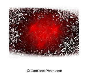 Red Christmas design with gentle snowflakes and glitter.