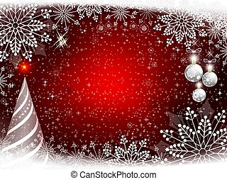 Red Christmas design with gentle snowflakes, Christmas snow-white fur-tree and balls.