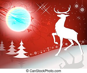 Red Christmas design with reindeer