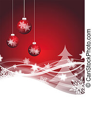 red christmas flyer - red abstract christmas flyer for...