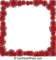 Red Christmas Frame with Paper Snowflakes