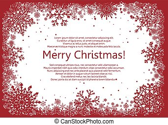 Red Christmas frame with snowflakes isolated on white background