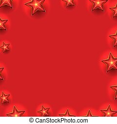 Red Christmas Frame with Stars Composition