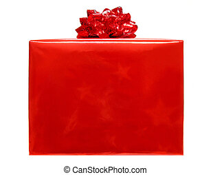 Single red Christmas gift box with bow isolated on white