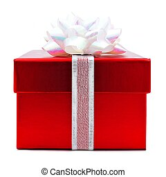 Red Christmas gift box isolated - Red Christmas gift box...