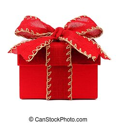 Red Christmas gift box with red bow and ribbon on white