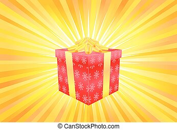 Red Christmas gift on yellow light background vector