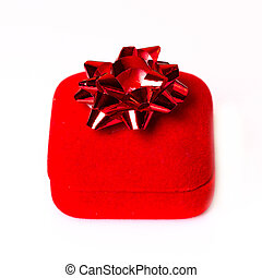 red Christmas gift with ribbon