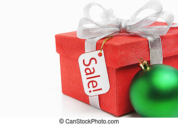 Red Christmas gift with tag