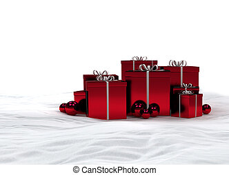 red christmas gifts in the snow