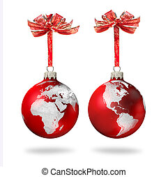 Red Christmas glass balls with silver world continents decoration, on white background
