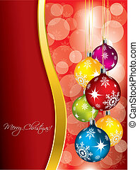 Red christmas greeting card design with gold wave