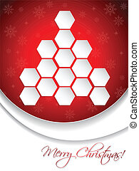 Red christmas greeting card design with hexagon tree