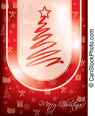 Red christmas greeting card design with tree