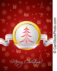 Red christmas greeting card with ribbon