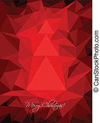 Red christmas greeting with abstract tree
