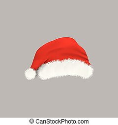 Red Christmas hat - isolated realistic vector illustration.