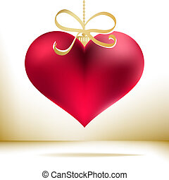 Red christmas heart decoration. + EPS8