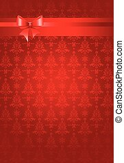 Red christmas holiday background with ribbon