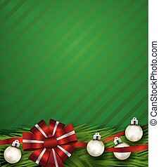 Red Christmas Holiday Bow and Silver Ornaments Background Illustration