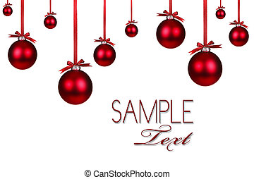 Christmas Holiday Background With Hanging Red Ornaments and Copy Space For Your Own Design