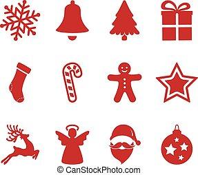 red christmas icons set