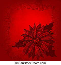 Red Christmas illustration with a place for Your text. Hand drawn winterberry