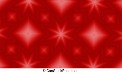 Red Kaleidoscopic Motion Patterns in a perfectly seamless loop video. HD widescreen. 30 Seconds.