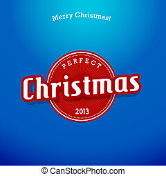 Red Christmas label on blue background.