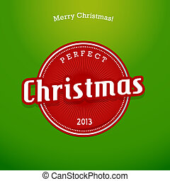 Red Christmas label on green background.