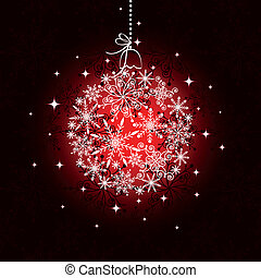 Red Christmas ornament ball on seamless pattern background