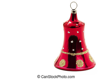 red christmas ornament in bell shape on white background