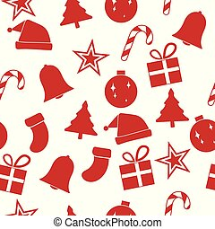 Red christmas ornament seamless pattern, vector illustration