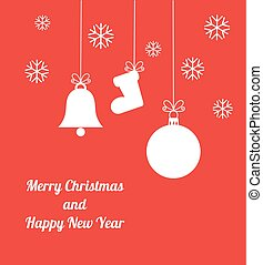 Red Christmas ornaments card