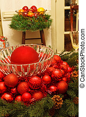 Red Christmas Ornaments in Crystal Bowl