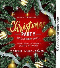 Red Christmas party invitation with gold ornaments