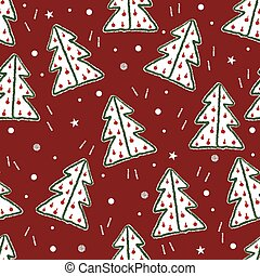 red christmas pattern background with doodle pine tree and dot glitter